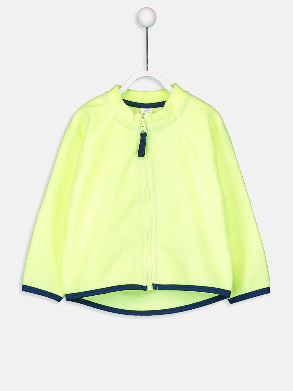 Yeşil Erkek Bebek Fermuarlı Polar Sweatshirt 9W1069Z1 LC Waikiki