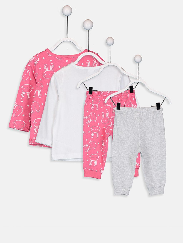 %100 Pamuk Standart Pijamalar Kız Bebek Desenli Pijama Takımı 4'lü