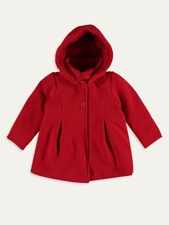 Kırmızı Kız Bebek Kapüşonlu Kaşe Kaban 9W2237Z1 LC Waikiki