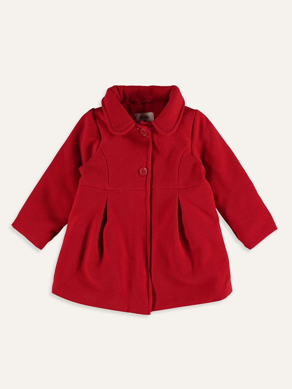 %61 Polyester %34 Viskoz %5 Elastan %100 Polyester Kalın Kaban Kız Bebek Kapüşonlu Kaşe Kaban