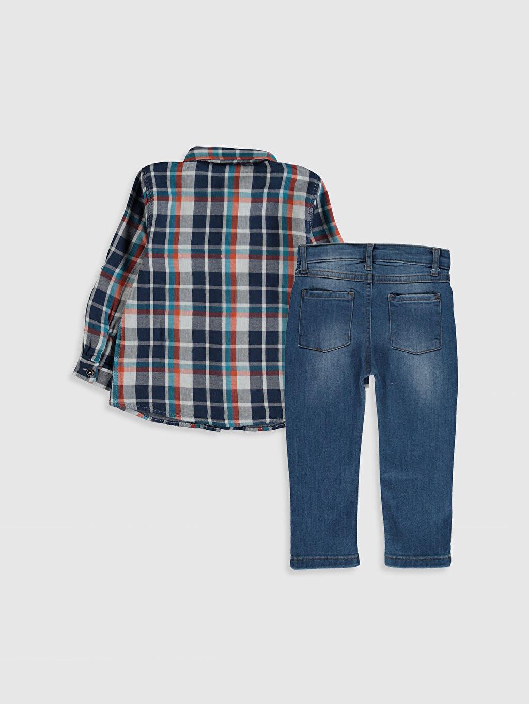 %85 Pamuk %13 Polyester %2 Elastan %100 Pamuk Standart Takım Erkek Bebek Ekose Gömlek ve Jean Pantolon