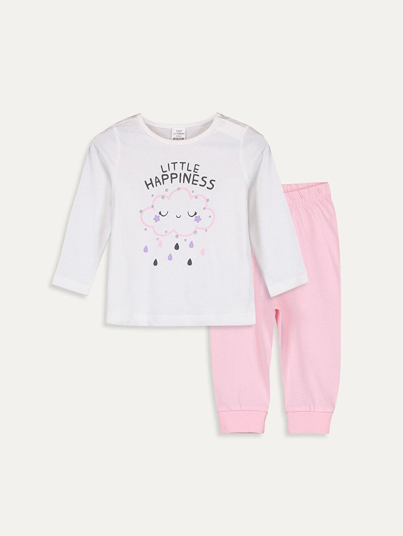 Ekru Kız Bebek Pamuklu Pijama Takımı 9W3549Z1 LC Waikiki