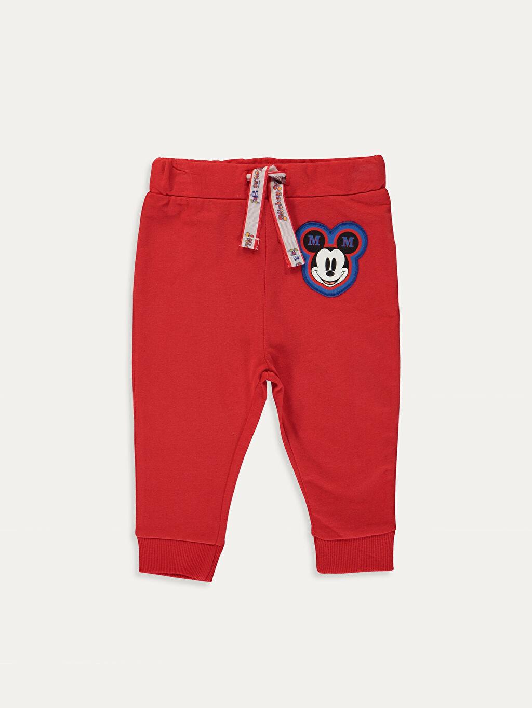 LC Waikiki Kırmızı Erkek Bebek Mickey Mouse Baskılı Eşofman Alt 2'li