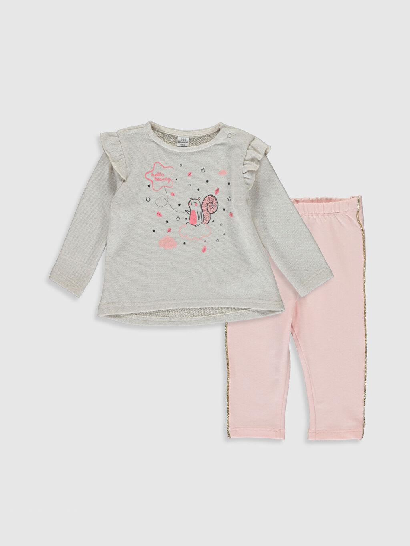 Bej Kız Bebek Desenli Tişört ve Pantolon 9W3997Z1 LC Waikiki