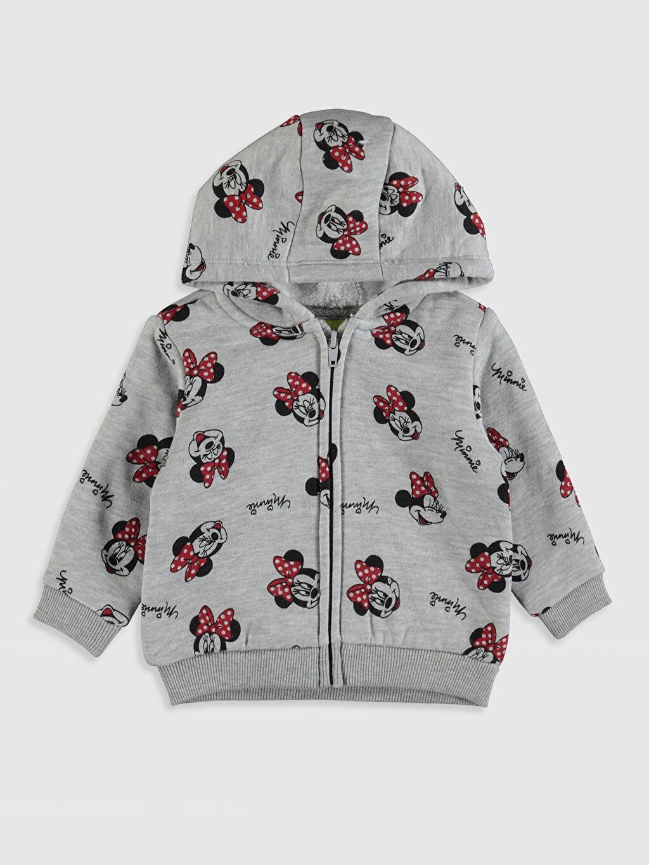 Gri Kız Bebek Minnie Mouse Baskılı Sweatshirt 9W4035Z1 LC Waikiki