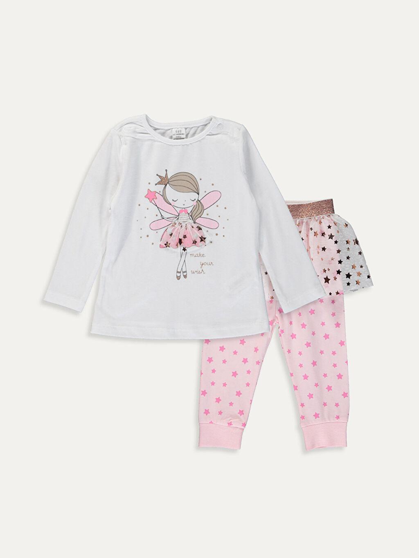 Beyaz Kız Bebek Pamuklu Pijama Takımı 9W5637Z1 LC Waikiki