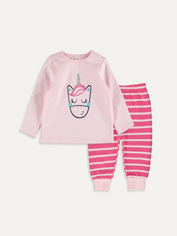 Pembe Kız Bebek Baskılı Pijama Takımı 9W5645Z1 LC Waikiki
