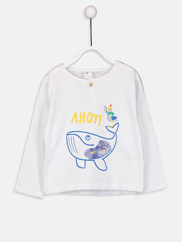 Beyaz Erkek Bebek Pamuklu Baskılı Tişört 9W5729Z1 LC Waikiki