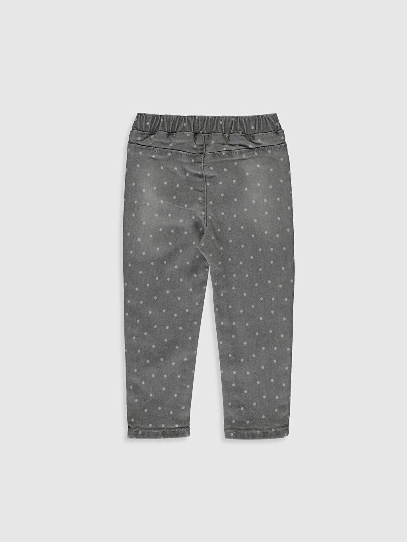 %90 Pamuk %7 Polyester %3 Elastan Standart Kız Bebek Puantiye Desenli Jean Pantolon