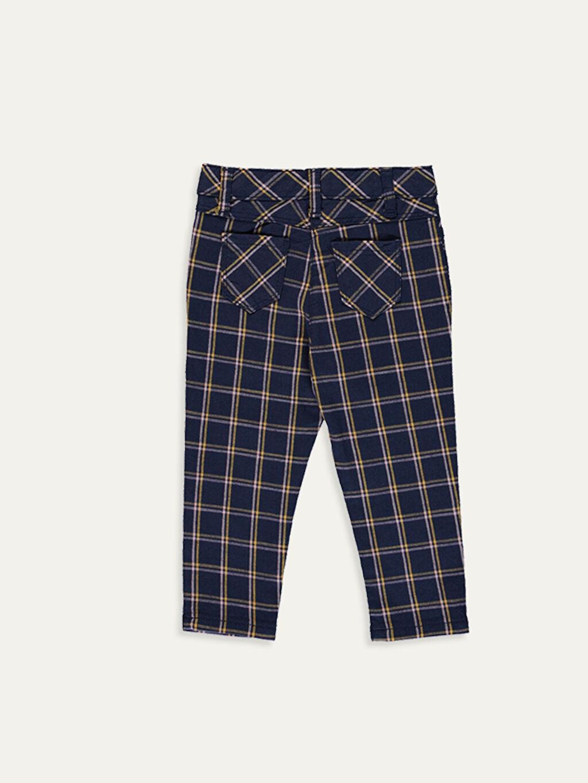 %96 Pamuk %4 Elastan Gabardin Smart Casual Ekose Standart Normal Bel Pantolon Kız Bebek Ekoseli Gabardin Pantolon