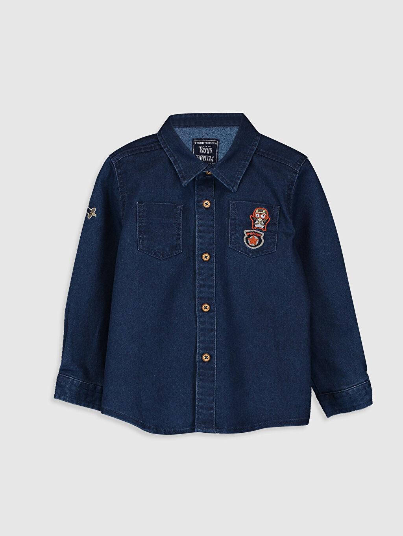 %69 Pamuk %27 Polyester %4 Elastan Uzun Kol Düz Tam Pat Jean Gömlek Aksesuarsız Standart Astarsız Erkek Bebek Jean Gömlek