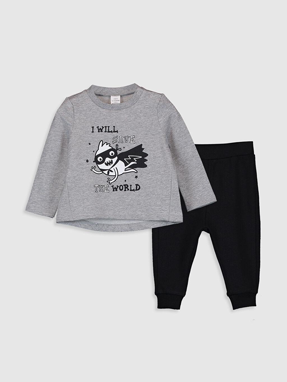Gri Erkek Bebek Baskılı Tişört ve Pantolon 9W6668Z1 LC Waikiki