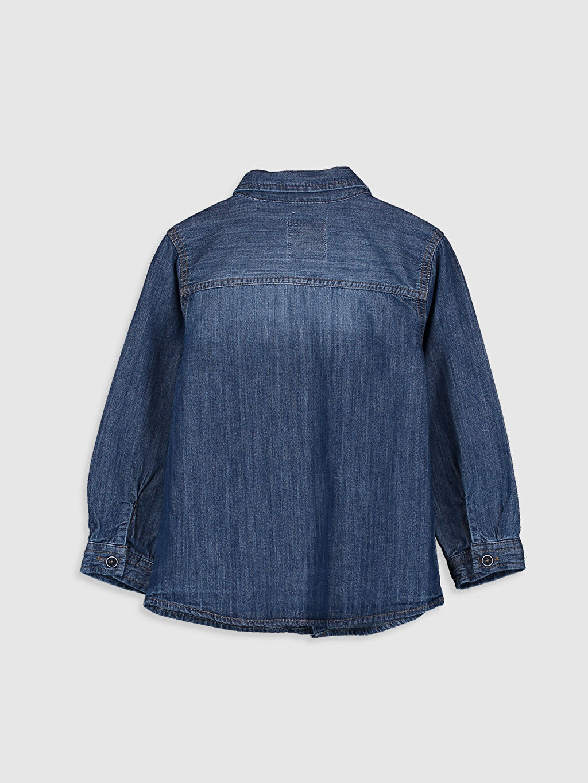 %100 Polyester %100 Pamuk Tam Pat Jean Gömlek Standart Astarsız Uzun Kol Düz Papyon Erkek Bebek Jean Gömlek ve Papyon 2'li