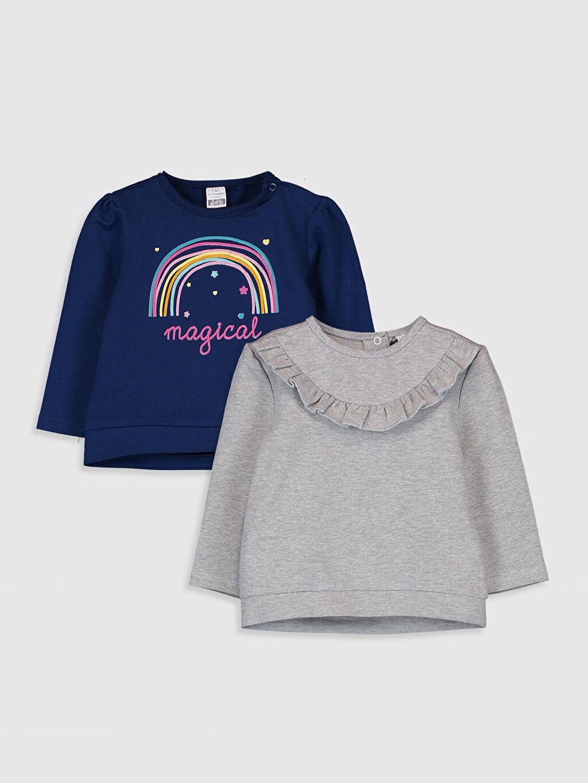 Lacivert Kız Bebek Sweatshirt 2'li 9W7476Z1 LC Waikiki