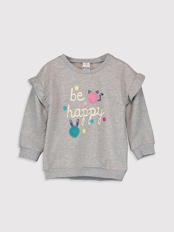 Gri Kız Bebek Baskılı Sweatshirt 9W7581Z1 LC Waikiki