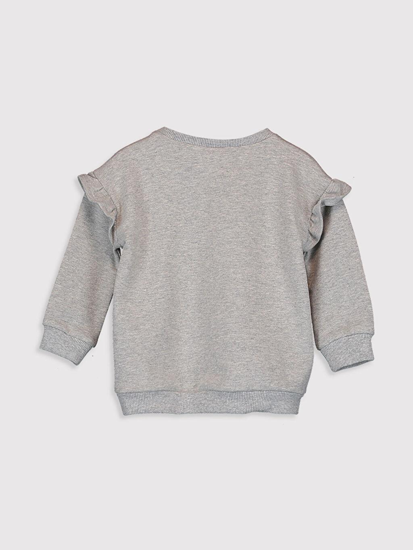 %96 Pamuk %4 Elastan İki İplik Aksesuarsız Tişört Bisiklet Yaka Kız Bebek Baskılı Sweatshirt