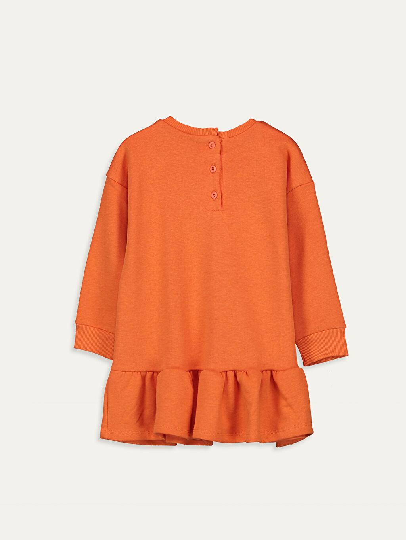 %68 Pamuk %32 Polyester Uzun Baskılı Kız Bebek Elbise