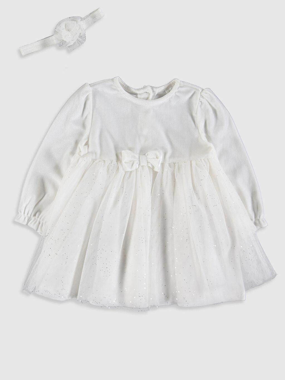 Ekru Kız Bebek Elbise ve Saç Bandı 9WK951Z1 LC Waikiki
