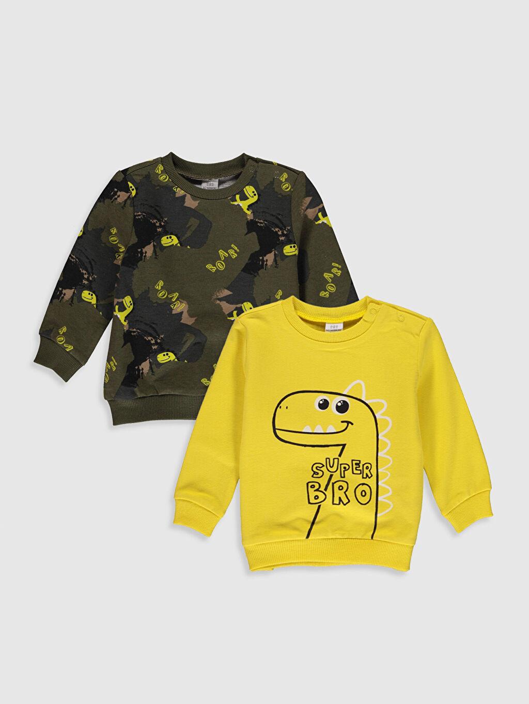Sarı Erkek Bebek Desenli Tişört 2'li 9WM105Z1 LC Waikiki