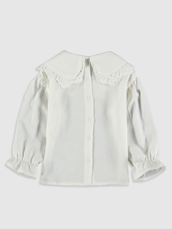 %100 Pamuk Gömlek Bebe Yaka Standart Uzun Kol Düz Gabardin A Kesim Kız Bebek Twill Bluz