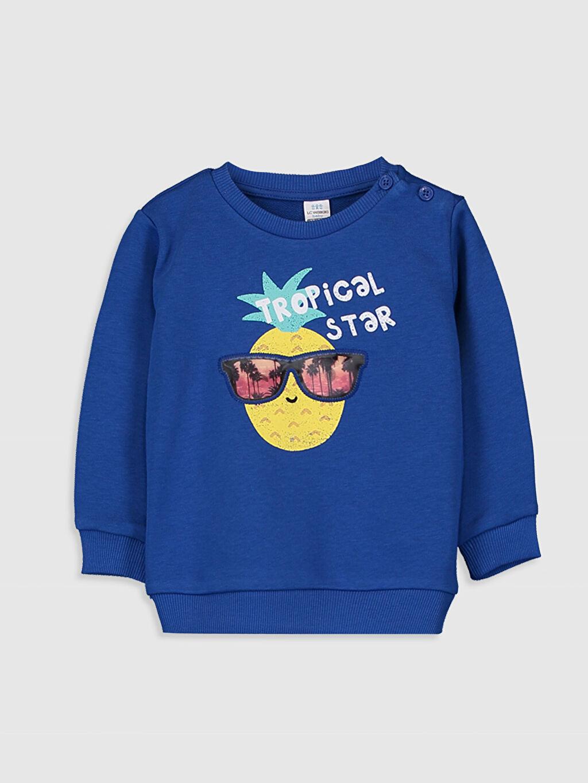 Mavi Erkek Bebek Yazı Baskılı Sweatshirt 9WR198Z1 LC Waikiki