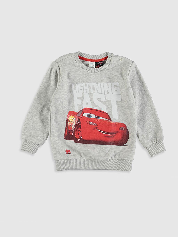 Erkek Bebek Erkek Bebek Arabalar Baskılı Sweatshirt ve Pantolon