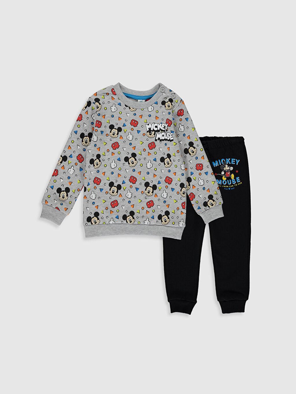 %91 Pamuk %9 Polyester %36 Pamuk %64 Polyester Takım Mickey Mouse Standart Baskılı Üç İplik İçi Tüylü Kalın Erkek Bebek Disney Desenli Eşofman Takımı