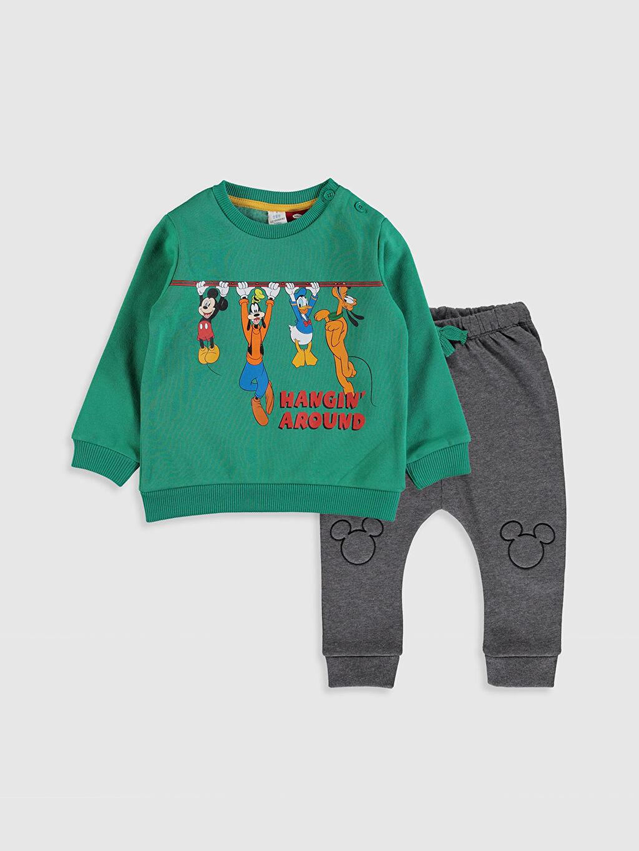 Yeşil Erkek Bebek Disney Baskılı Sweatshirt ve Pantolon 9WR670Z1 LC Waikiki