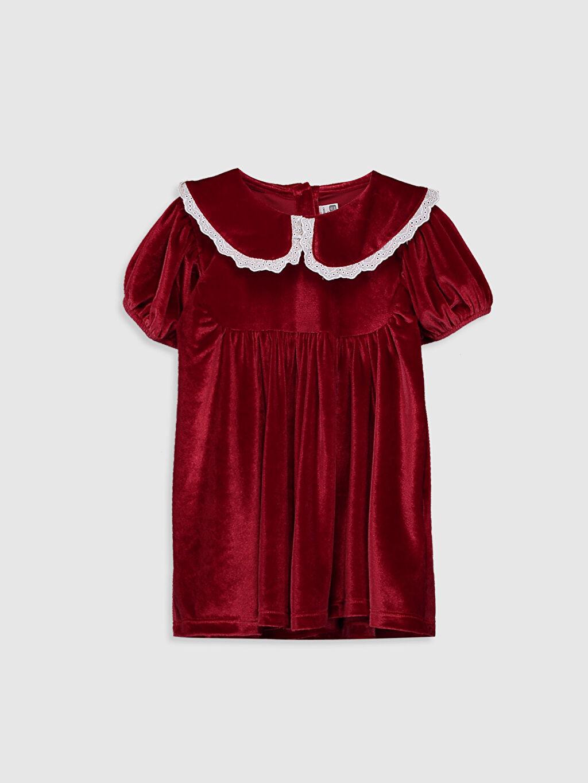 Kırmızı Kız Bebek Kadife Elbise 9WA305Z1 LC Waikiki