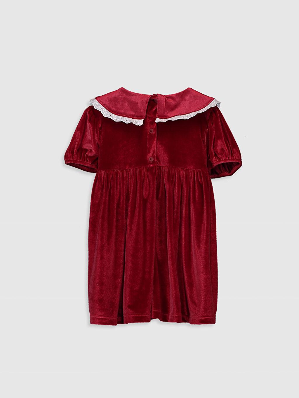 %91 Polyester %9 Elastan Düz Kız Bebek Kadife Elbise
