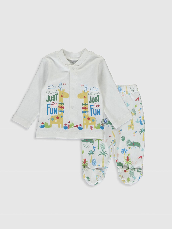 Beyaz Luggi Baby Yenidoğan Desenli Tişört ve Patikli Pantolon 9WB877Z1 LC Waikiki