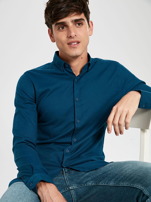 %97 Pamuk %3 Elastan Gömlek En Dar Düğmeli Baskılı Uzun Kol Ekstra Slim Fit Uzun Kollu Armürlü Gömlek