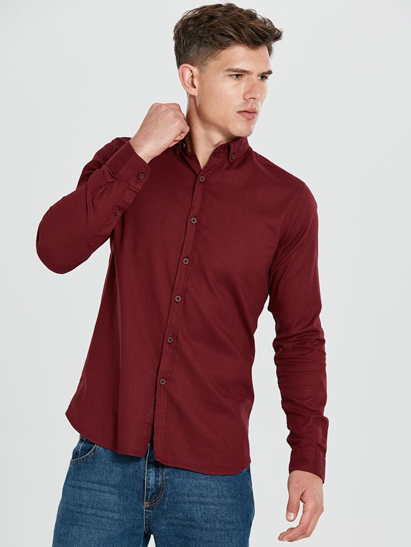 %97 Pamuk %3 Elastan Uzun Kol Gömlek En Dar Düğmeli Desenli Ekstra Slim Fit Uzun Kollu Armürlü Gömlek