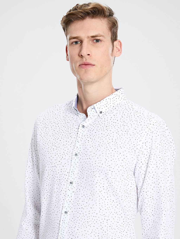 Erkek Slim Fit Desenli Oxford Gömlek