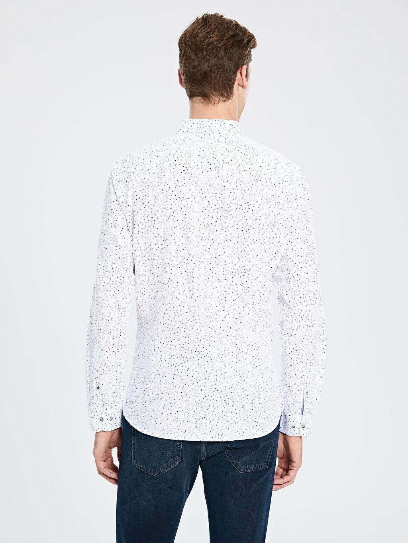 %100 Pamuk Slim Fit Desenli Oxford Gömlek