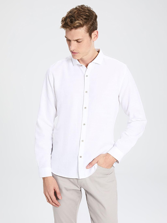 %100 Pamuk Gömlek Gömlek Yaka Dar Patlı Uzun Kol Düz %100 Pamuk Slim Fit Armürlü Pamuklu Gömlek