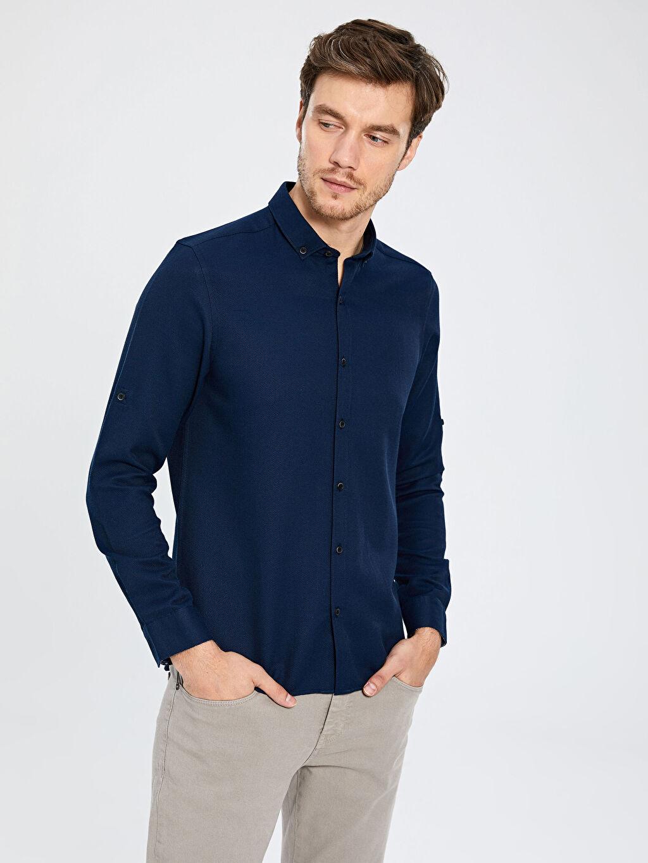 %60 Pamuk %40 Polyester Baskılı Uzun Kol Gömlek Düğmesiz Dar Slim Fit Basic Armürlü Gömlek