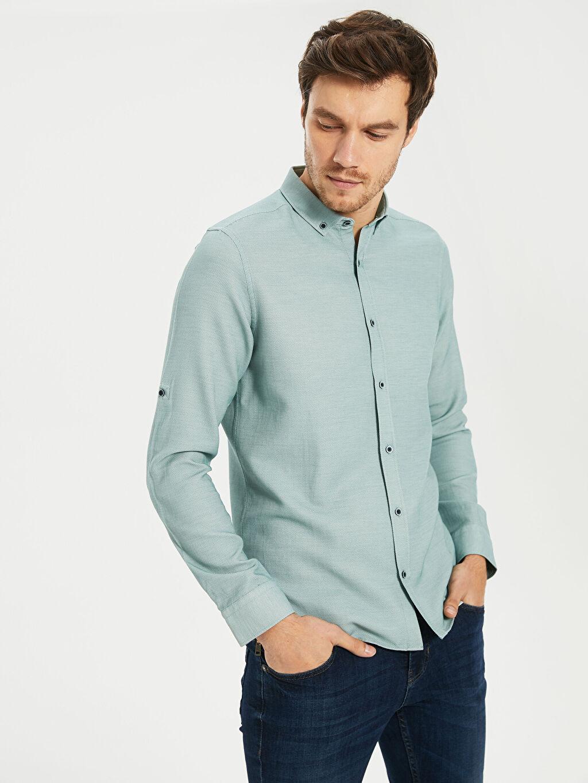 Erkek Slim Fit Basic Armürlü Gömlek