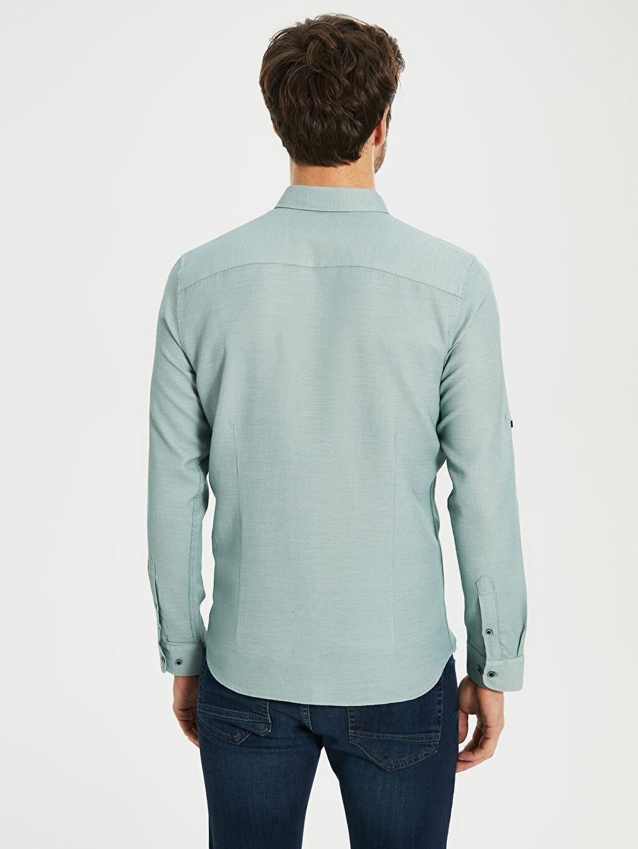 %61 Pamuk %39 Polyester Slim Fit Basic Armürlü Gömlek