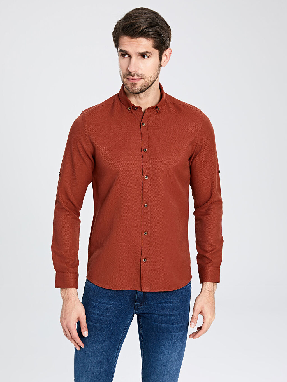 Kırmızı Slim Fit Basic Armürlü Gömlek 0S0465Z8 LC Waikiki