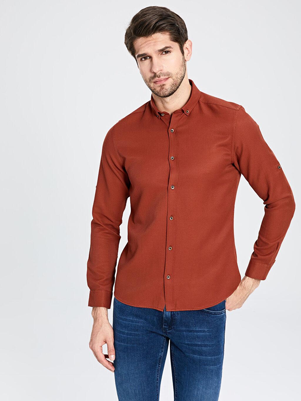 %61 Pamuk %39 Polyester Baskılı Uzun Kol Gömlek Düğmesiz Dar Slim Fit Basic Armürlü Gömlek