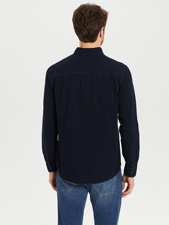 %100 Pamuk Düz Normal Uzun Kol Gömlek Düğmeli Regular Fit Jean Gömlek