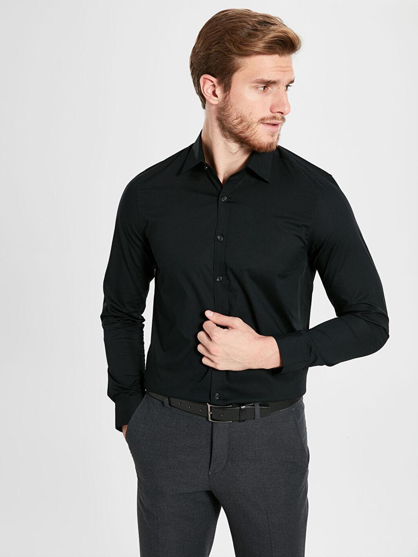 Siyah Slim Fit Basic Gömlek 0S0674Z8 LC Waikiki