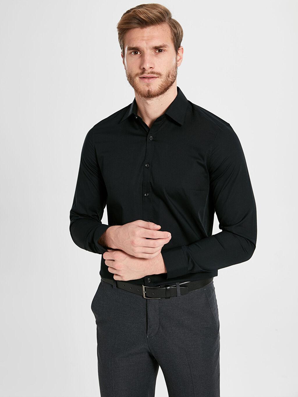 %61 Pamuk %39 Polyester Düz Uzun Kol Gömlek Düğmesiz Dar Slim Fit Basic Gömlek