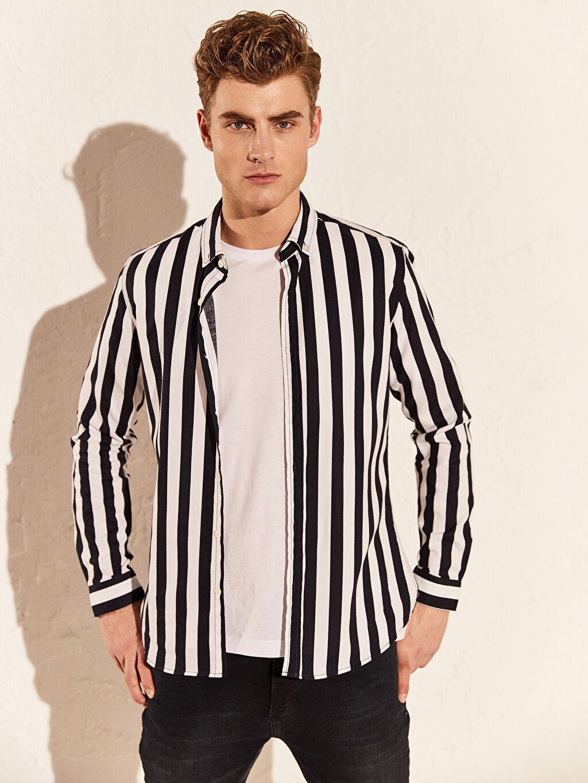 %100 Pamuk Çizgili En Dar Uzun Kol Gömlek Düğmeli Ekstra Slim Fit Çizgili Uzun Kollu Oxford Gömlek