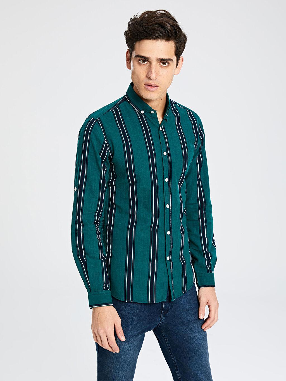 %100 Pamuk Gömlek En Dar Düğmeli Çizgili Uzun Kol Ekstra Slim Fit Çzgili Uzun Kollu Oxford Gömlek