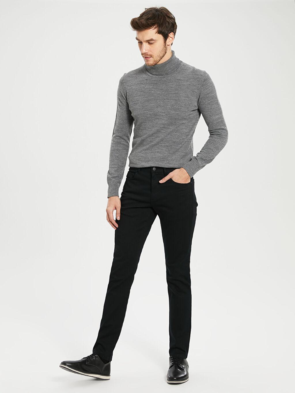 %98 Pamuk %2 Elastan Normal Bel Pantolon Dar Pilesiz Slim Fit Armürlü Pantolon