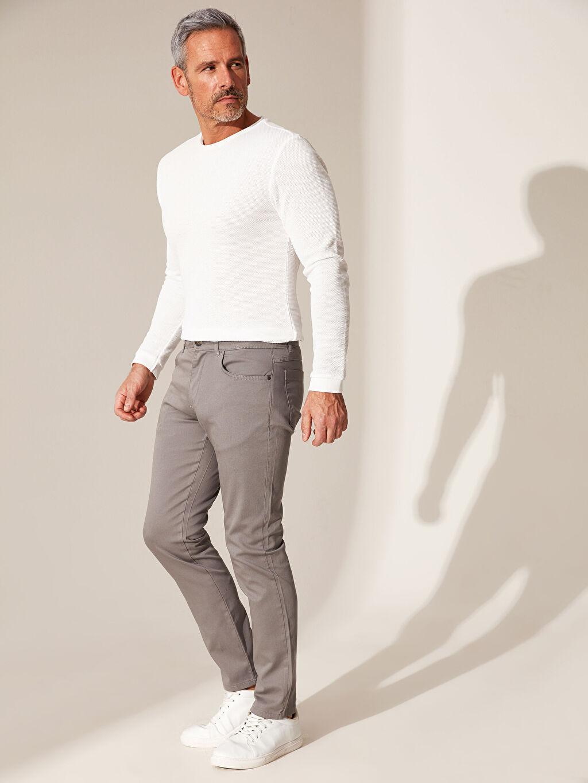 Gri Slim Fit Armürlü Pantolon 0S0897Z8 LC Waikiki