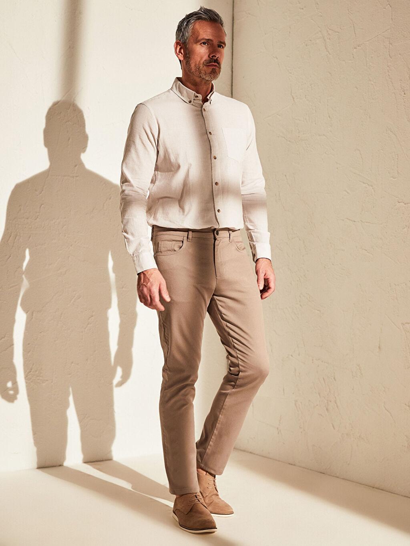 Bej Slim Fit Armürlü Pantolon 0S0897Z8 LC Waikiki