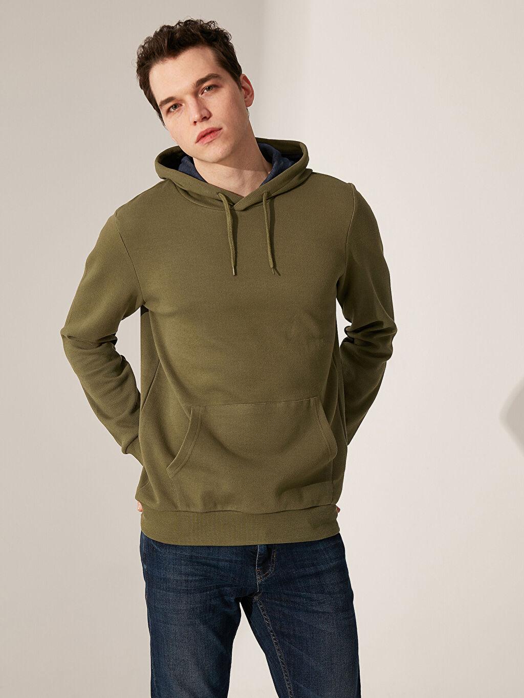 Yeşil Kapüşonlu Basic Sweatshirt 0S1168Z8 LC Waikiki